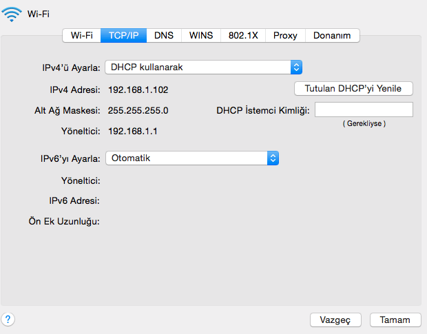 Modem IP Adresi Öğrenme - 192.168.1.1 ip adresi bulma - Mac OS