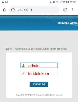 Telefondan Modem Wifi Şifresi Değiştirme - Modem arayüz şifreleri